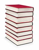 Stack Of Vintage Red And Black Book On A White Background
