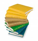 Stack Of Yellow, Green And Blue Book On A White Background Isolation
