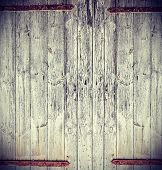 Retro Vintage Photo Of A Wooden Gate.