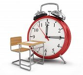 Alarm Clock With School Desk. School Time Concept.