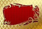 Gold Christmas and New-Year's greeting card with red background. Vector illustration