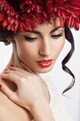 Closeup Of Fashionable Model With Red Wreath