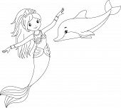 picture of mermaid  - mermaid and her friend the dolphin coloring page - JPG