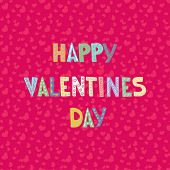 Cartoon letters on seamless hearts pattern. Valentine`s card. Love greeting or invitation card design.