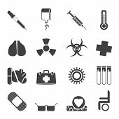 Silhouette collection of  medical themed icons and warning-signs