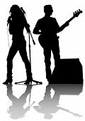 stock photo of singer  - Group and singer of rock band on white background - JPG