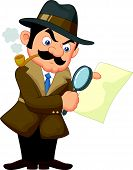 foto of private investigator  - illustration of Cartoon Detective Man isolated on white - JPG