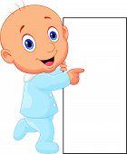 Cartoon baby boy with blank sign