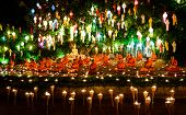 Chiang Mai Thailand-november 9 : Loy Krathong Festival In Chiangmai.traditional Monk Lights Floating