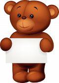Bear stuff holding blank paper