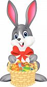 Easter bunny with bucket of eggs