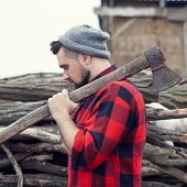 Stylish Young Man Posing Like Lumberjack