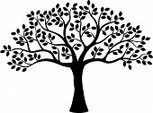 stock photo of planting trees  - illustration of Tree silhouette isolated on white - JPG