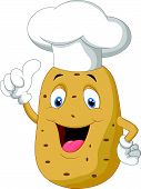 Potato chef cartoon giving thumb up