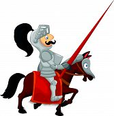 picture of jousting  - illustration of Cartoon knight isolated on white - JPG