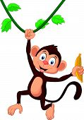 Cartoon monkey hanging