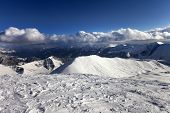 View On Off-piste Slope And Snowy Mountains