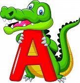 Cartoon alligator with alphabet A
