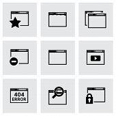 Vector black browser icon set