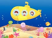 Vector Happy kids in submarine