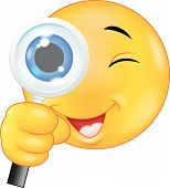 Emoticon holding a magnifying glass on a white background