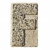 picture of carving  - Letter F carved in a concrete block  - JPG