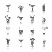 Alcohol Cocktails Icons black