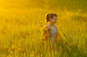 Smiling girl picking flowers on the meadow