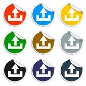 Set Of Blank Stickers. Upload Icon. Vector Illustration.