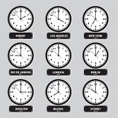 Time Zones Black And White Clock Set Eps10