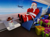 Santa with gifts inside the aircraft.