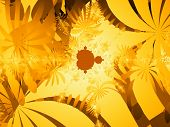 picture of mandelbrot  - mandelbrot fractal and plenty of leaves and flower chain - JPG