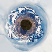 Little planet image. Mountains.