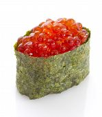 Sushi Gunkan With Red Caviar. Tobico. Tobiko. Isolated On White Background.