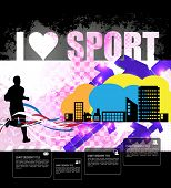Marathon runner, sport poster, vector