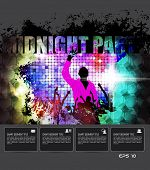 Midnight party. Vector event poster