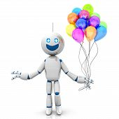 stock photo of animated cartoon  - A happy cartoon Robot with a bunch of Balloons - JPG