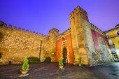 Seville, Spain at the Royal Alcazars of Seville gateway entrance.