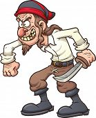 Crazy cartoon pirate. Vector clip art illustration with simple gradients. All in a single layer.