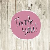 Thank You Card On Hardwood Texture. Raster version