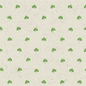 Clover leaf seamless pattern on paper texture. Raster version