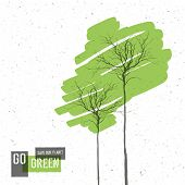 Go Green Concept Poster With Trees. Raster version
