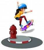A young girl skating near the hydrant on a white background