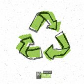 Go Green Concept Poster With Recycled Sign. Raster version