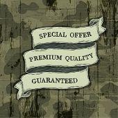 Design elements on camouflage background. Raster version