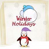 Stylish poster, flyer or banner of Witner Holidays with penguin wearing a Santa cap.