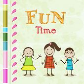 Poster, flyer or banner with little cute girls and stylish text of Fun Time.