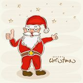 Happy Santa Claus in his red dress showing thumbs up for Merry Christmas celebrations.