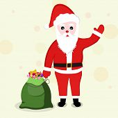 Cute cartoon of a Santa Claus waving hand and holding gift sack for Merry Christmas and other occasion celebrations.