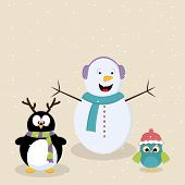 Cute cartoon of snowman, penguin and bird celebrating Merry Christmas festival.
